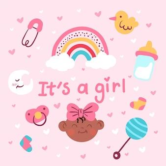 Różowa dziewczynka prysznic