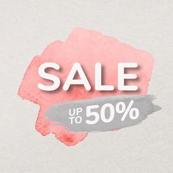 Różowa farba naklejka odznaka sprzedaż, pociągnięcie pędzlem akwarela, zakupy wektor obrazu