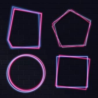 Różowa geometryczna neonowa ramka
