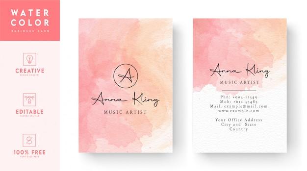 Różowa i biała akwarela pionowe wizytówki szablon