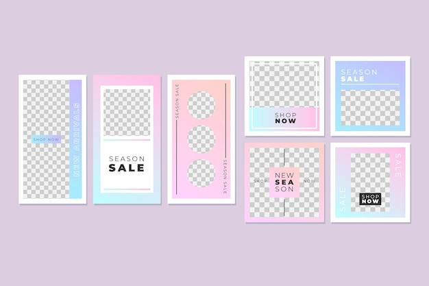 Różowa i niebieska kolekcja postów na instagramie