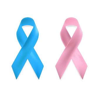 Różowa i niebieska wstążka świadomości raka piersi.