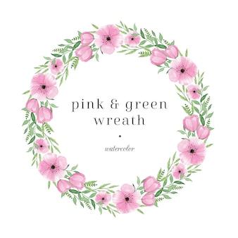 Różowa i zielona ręka + malowany wianek