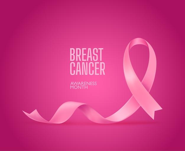 Różowa jedwabna wstążka. kampania uświadamiająca na temat raka piersi