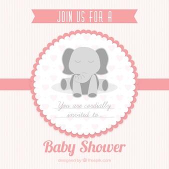 Różowa karta baby shower dla dziewczyny