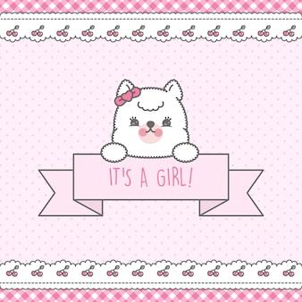 Różowa karta baby shower premium