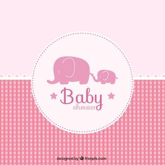 Różowa karta baby shower w kratkę stylu