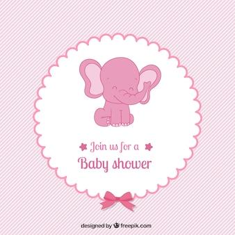 Różowa karta baby shower w pięknym stylu