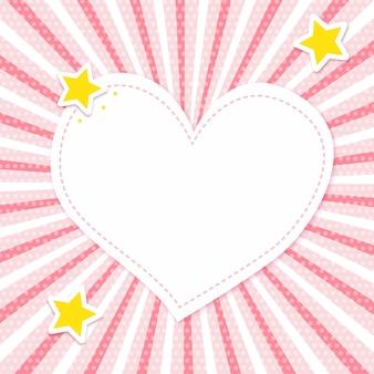 Różowa karta promieni słonecznych z miejscem na tekst w kształcie serca