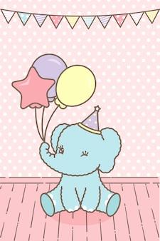 Różowa kartka dla dziecka z uroczym słoniem