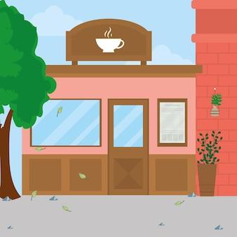 Różowa kawiarnia z banerem