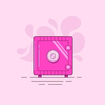 Różowa kombinowana szafka sejfowa na białym tle na jasnoróżowym tle
