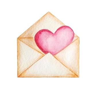 Różowa koperta vintage z różowym sercem. kartka papieru, wiadomość miłosna, ilustracja akwarela.