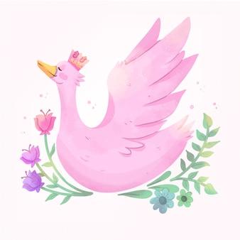 Różowa księżniczka łabędź z koroną