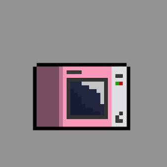 Różowa kuchenka mikrofalowa w stylu pixel art