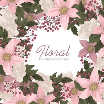 Różowa kwiat ilustracyjna kwiecista rama