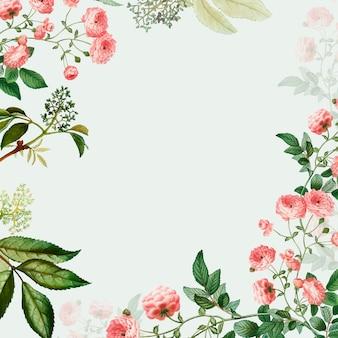 Różowa kwiecista rama