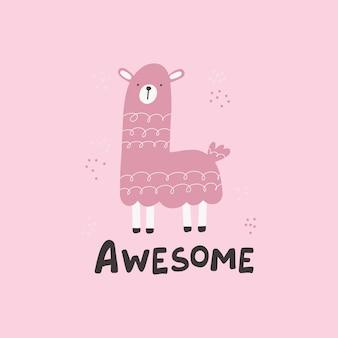 Różowa lama ręcznie rysowane słodkie karty. niesamowity napis. ilustracja postaci do projektu przedszkola