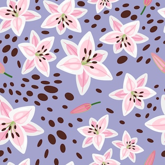 Różowa lilia, pąki i wzór ciemnych plam z niebieskim
