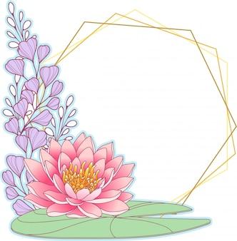 Różowa lilia wodna i geometryczna ramka