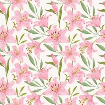 Różowa lilia z liści wzór