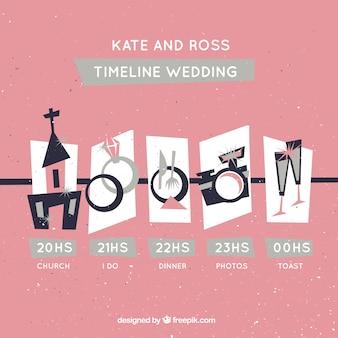 Różowa linia czasu ślubu w stylu retro