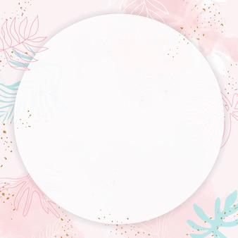 Różowa, liściasta okrągła ramka akwarelowa