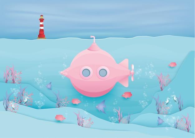 Różowa łódź podwodna z wieloma rybkami w pastelowym stylu.
