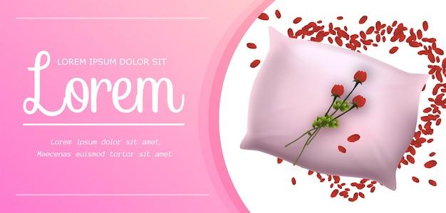 Różowa miękka poduszka z pięknym czerwonym kwiatem transparentu