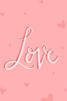 Różowa miłość kaligrafia słowo wektor