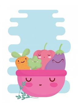 Różowa miska z warzywami menu znaków kreskówka jedzenie słodkie