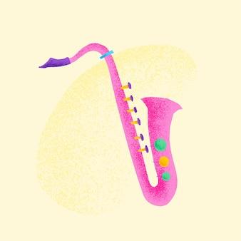 Różowa naklejka saksofonowa ilustracja instrumentu muzycznego