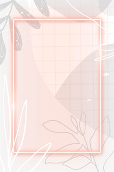 Różowa neonowa ramka na wzorzystym tle memphis