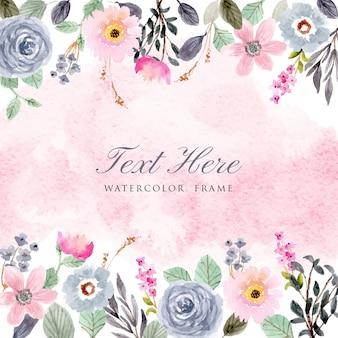 Różowa niebieska akwarelowa ramka kwiatowa
