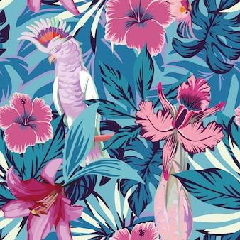 Różowa papuga kwitnie i zasadza błękitną bezszwową deseniową tapetę