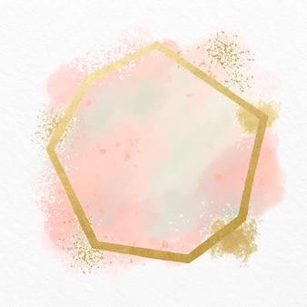 Różowa pastelowa akwarela ze złotą ramą