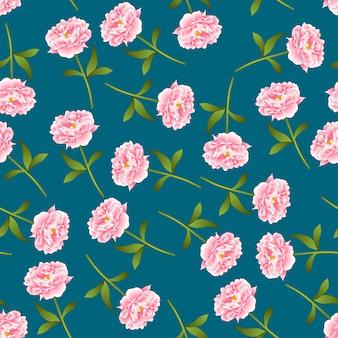 Różowa peonia bezszwowa na indygowym błękitnym tle
