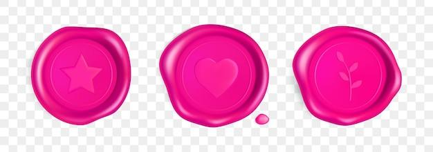 Różowa pieczęć woskowa z sercem, gałązką i gwiazdą. pieczęć lakowa pieczęć z sercem, gałęzią i gwiazdą na przezroczystym tle. różowe znaczki na pocztówkę, zaproszenie na ślub. realistyczny wektor 3d