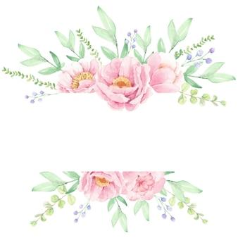 Różowa piwonia kwiat bukiet wieniec ramki