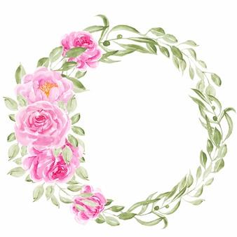 Różowa piwonia wieniec kwiatów akwarela