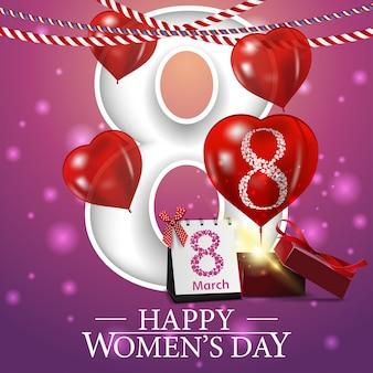 Różowa pocztówka z życzeniami na dzień kobiet