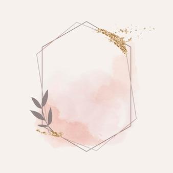 Różowa połyskująca sześciokątna ramka