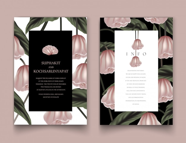 Różowa ramka kwiatowy na zaproszenia.