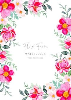 Różowa ramka kwiatowy z akwarelą