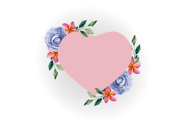 Różowa ramka serce z kwiatami