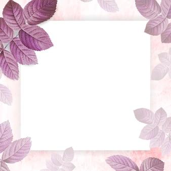 Różowa ramka z wzorem liści