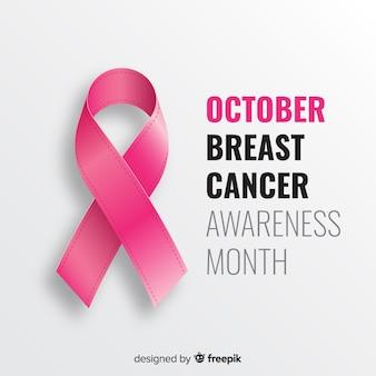 Różowa realistyczna wstążka na wydarzenie świadomości raka piersi