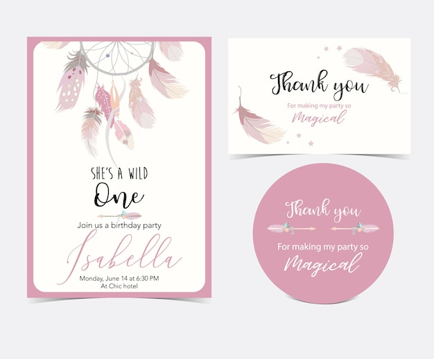 Różowa ręka rysująca śliczna karta z piórkiem. dziękuję ci