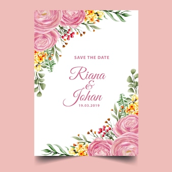 Różowa róża akwarela rama tło, szablon