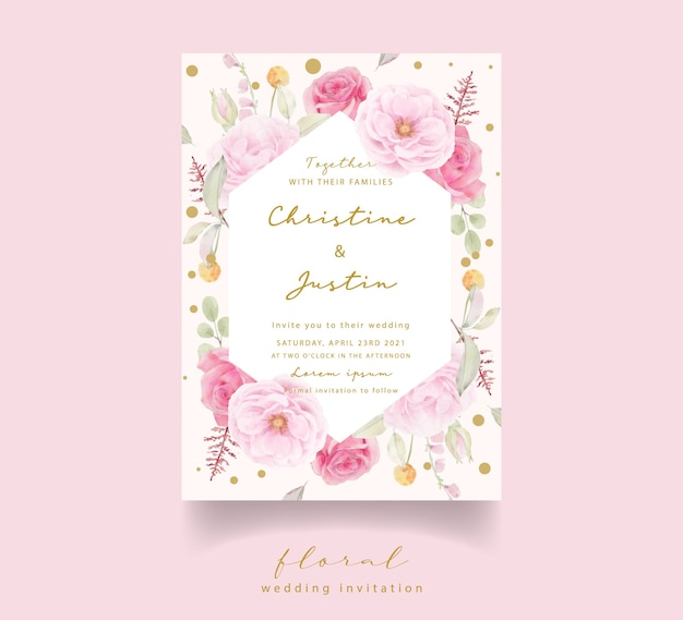 Różowa róża akwarela zaproszenie na ślub